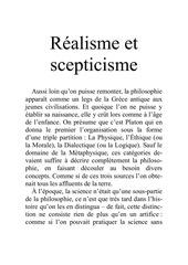 realisme et scepticisme