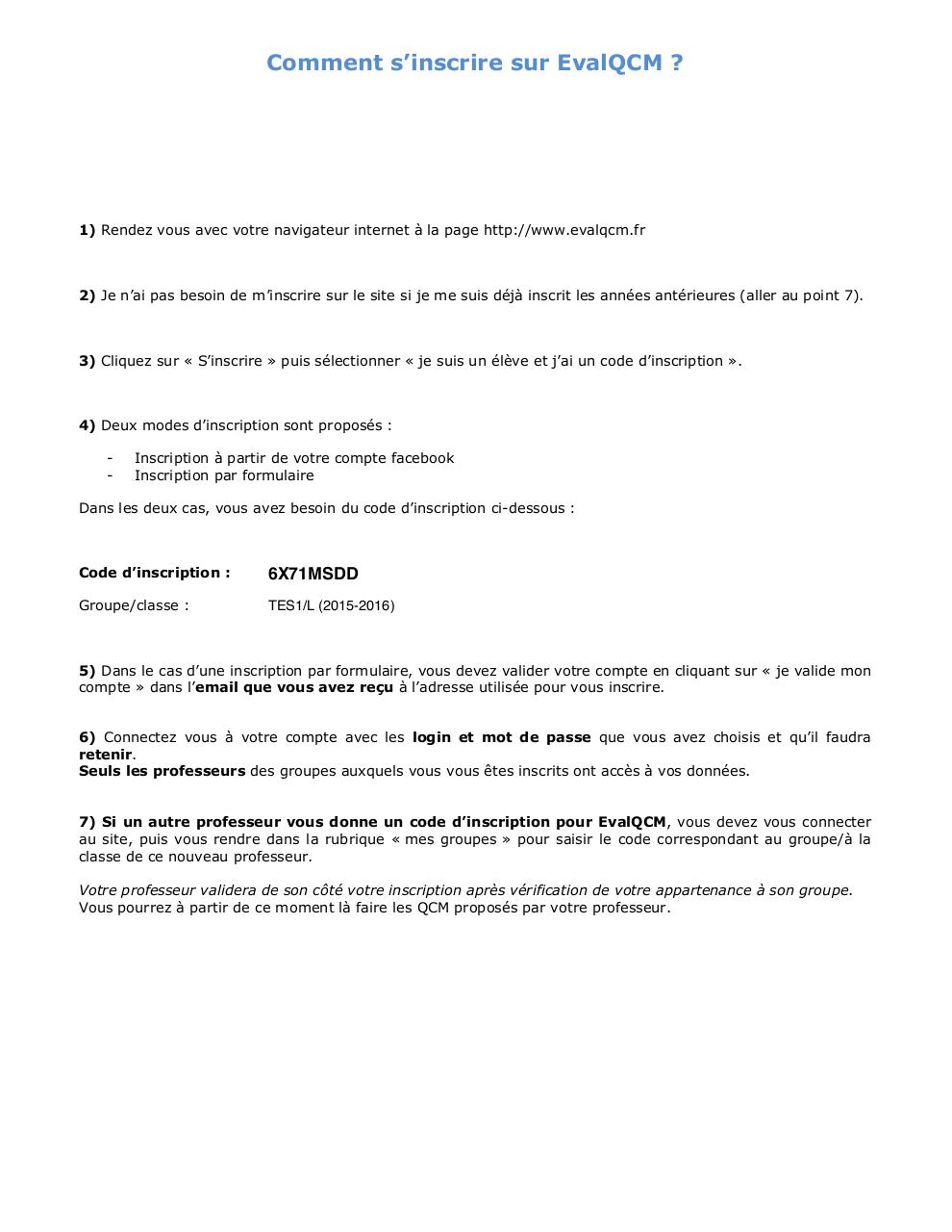 Aperçu du document Tle ES1:L - Fiche inscription evalQCM.pdf - page 1/1