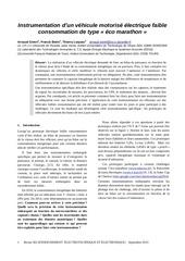 instrumentation vehicule faible consommation eco marathon