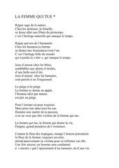 la femme qui tue poeme