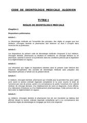 ciopf code de deontologie algerie