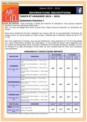 dossier d inscription aec 2015 2016 tarifs normaux