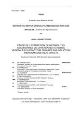 etude de l extraction de metabolites secondaires