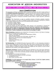2015 ecowas fellowship programme advert