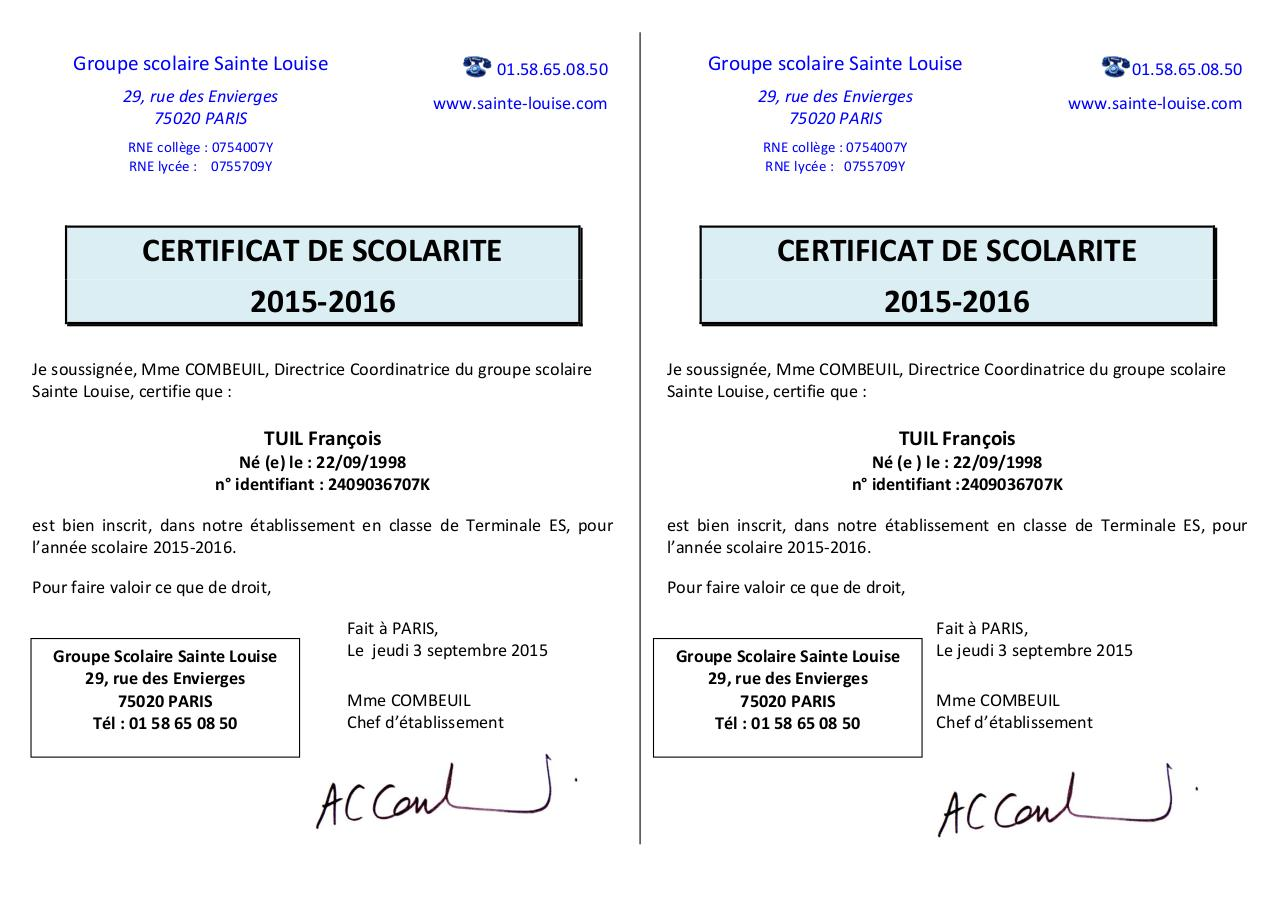 attestation de scolarite