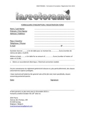 insectorama formulaire d inscription registration form