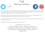 fall missing number clip cards