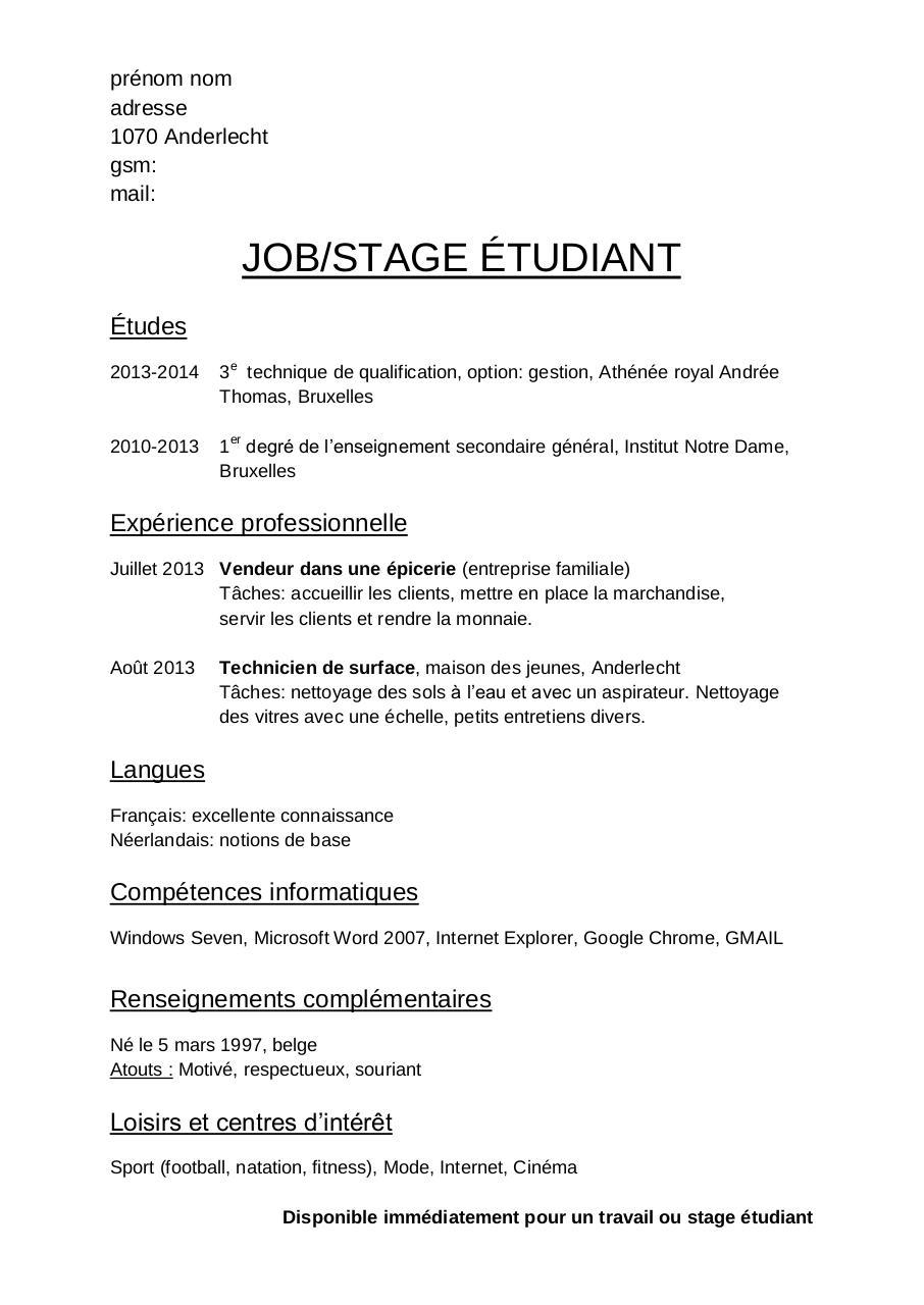 exemple de cv etudiant pour stage pdf