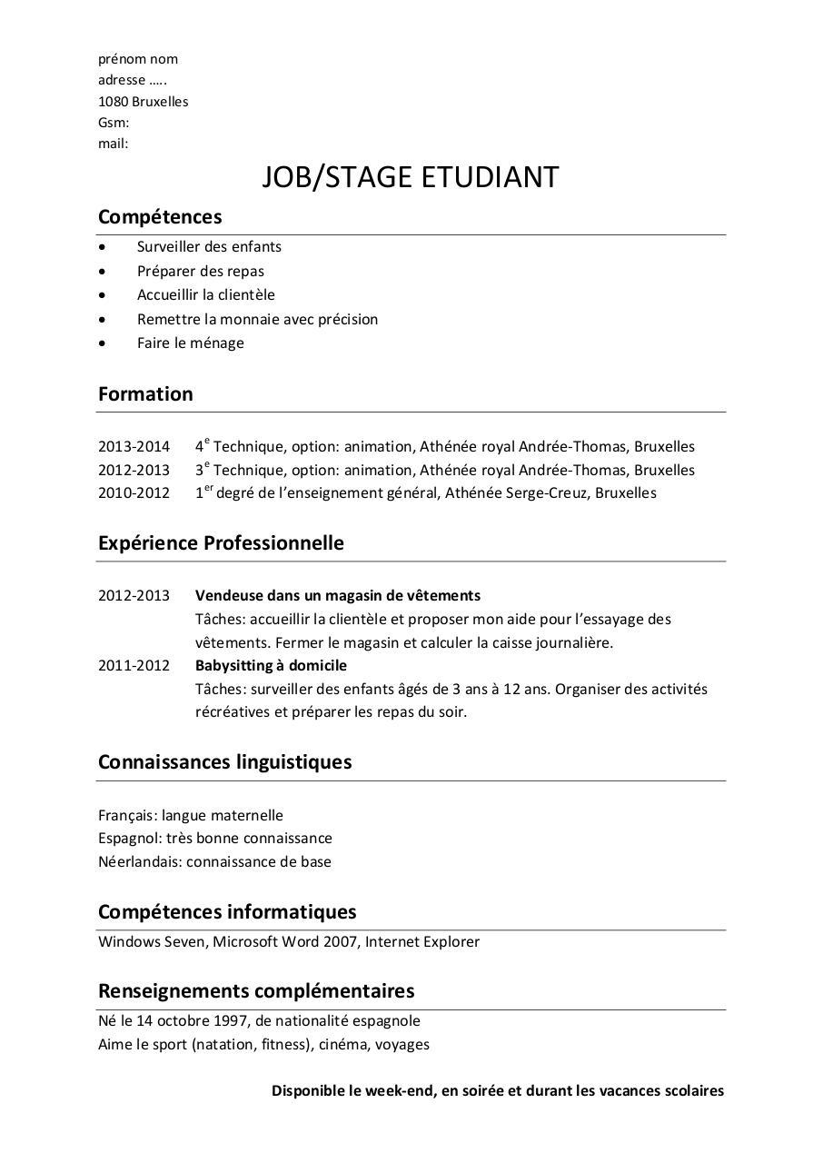 4 exemples de cv job ou stage  u00e9tudiant par master
