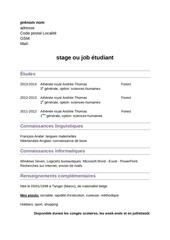 4 exemples de cv job ou stage etudiant