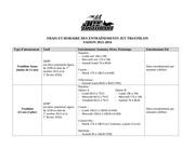 horaire et tarifs des entraenements