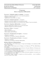 programme series et equations differentielles