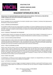 reglement interieur vbc3l saison 2015 16
