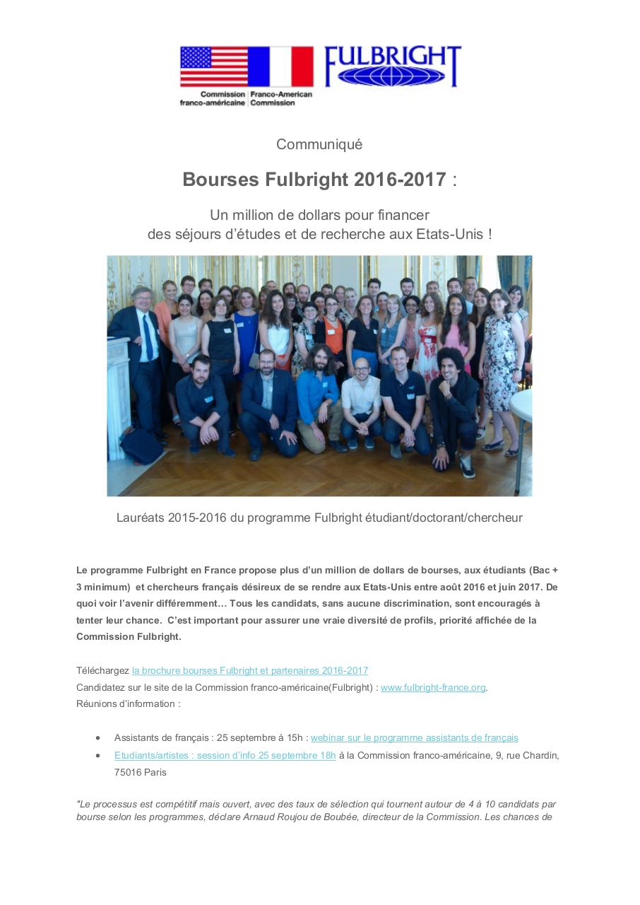 Aperçu du document Bourses Fulbright 2016-2017.pdf - page 1/2