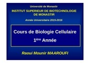 cours bio cell chap i 1ere a isbm 2015 2016