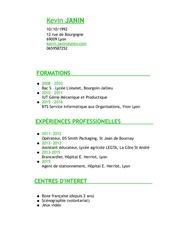 Fichier PDF cv kevin