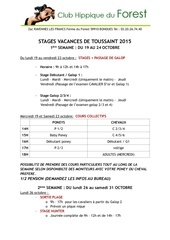 stages de toussaint 2015