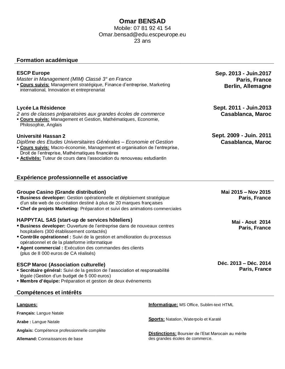 tableau  u00e9   par omar - omar bensad - cv pdf