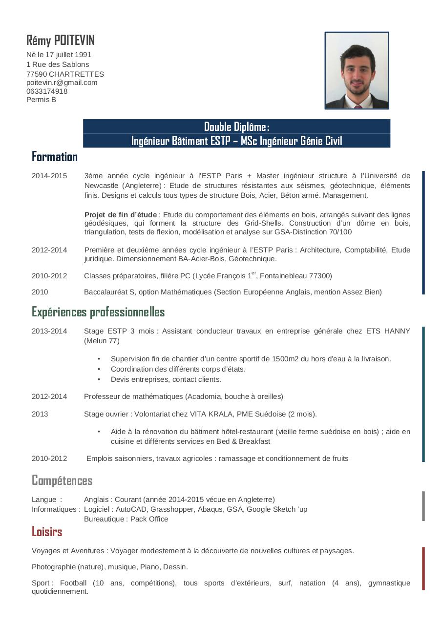 cv exemple   ingenieur b u00e2timent genie civil  ridefl com