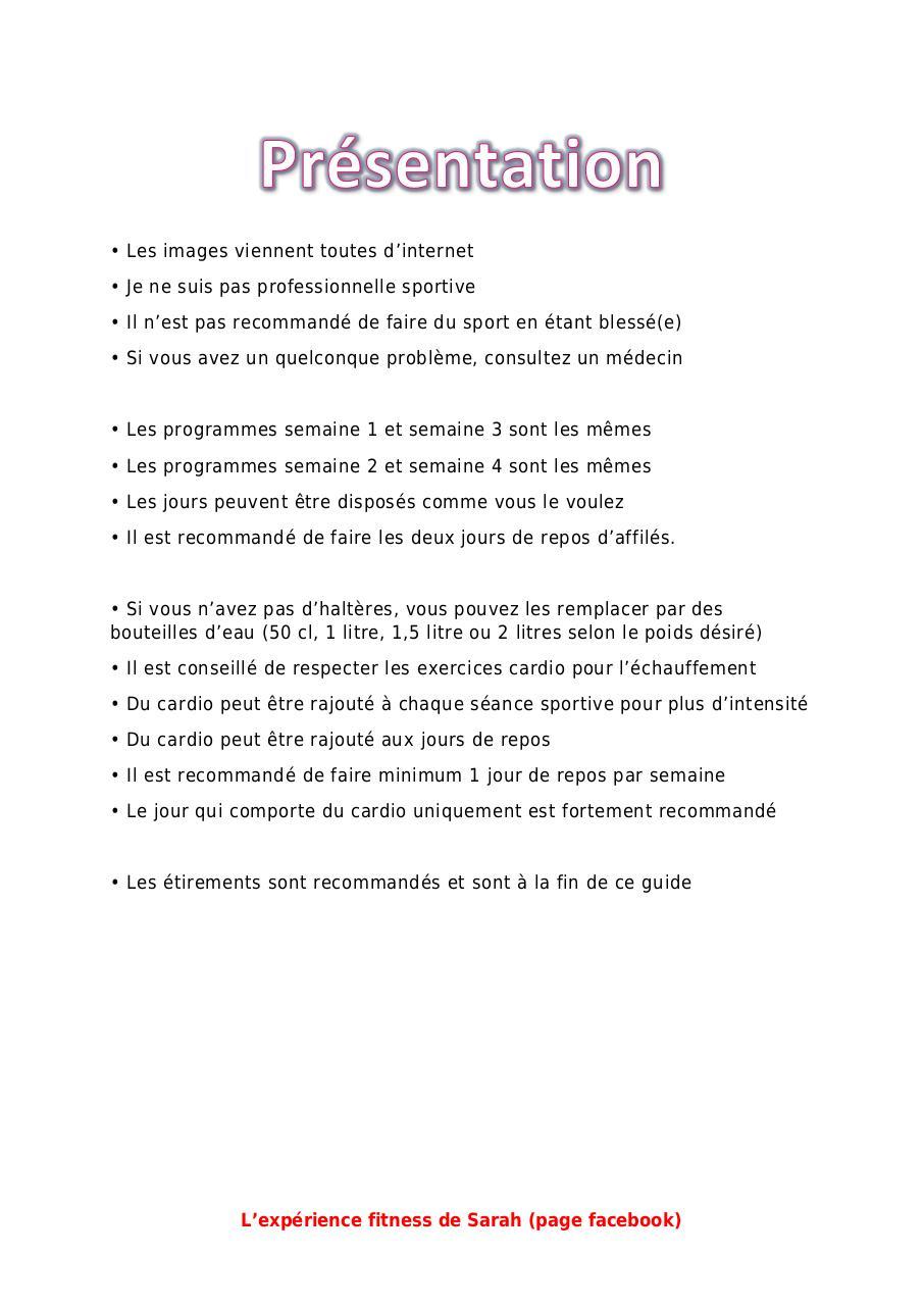Programme De Sport Octobre Page Par Sarah Fichier Pdf