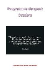 programme de sport octobre page