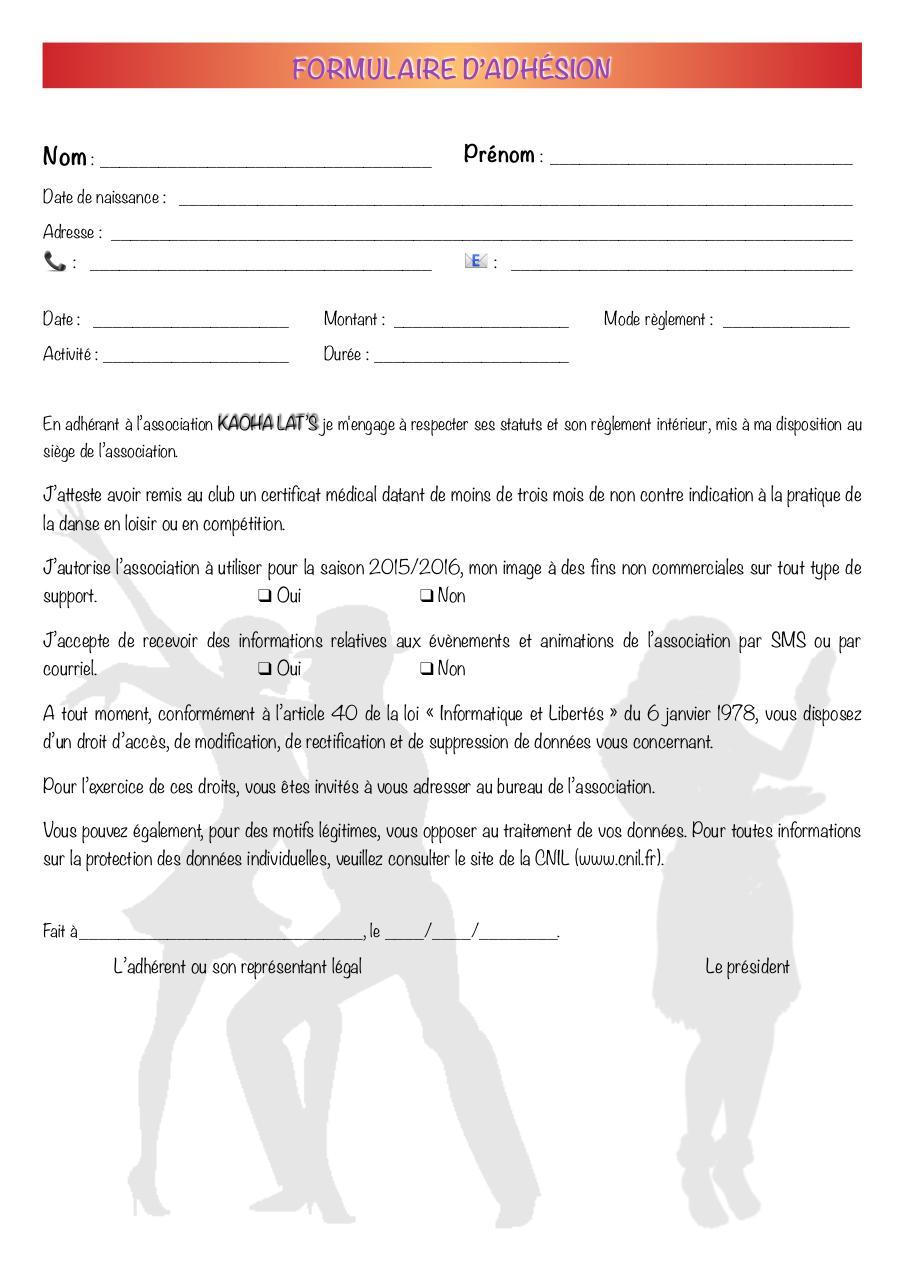 Formulaire adh sion formulaire adh fichier pdf for Reglement interieur association pdf