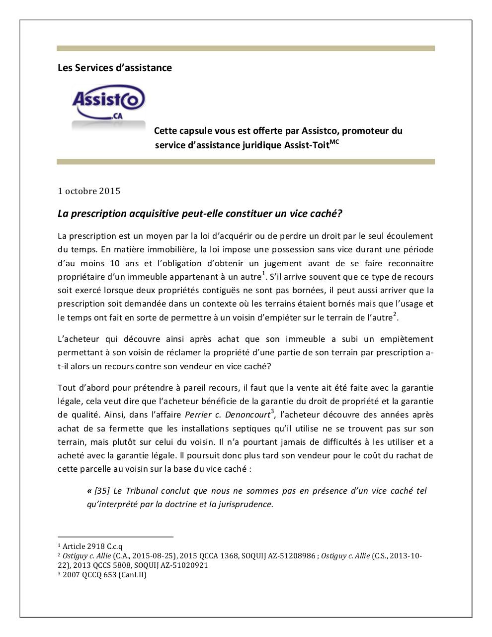 29 la prescription acquisitive peut elle constituer un vice cach pdf par c - Prescription acquisitive terrain ...