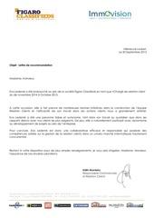 lettre de recommandation immovision