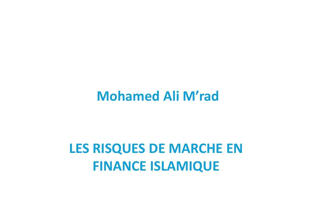 a risques de march u00e9 en finance islamique