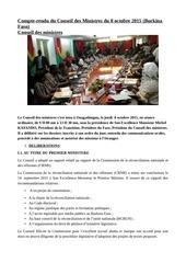 compte rendu du conseil des ministres du 8 octobre 2015