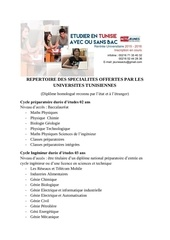 repertoires des specialites en tunisie 2