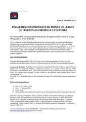 cp league of legends retransmission cgr cinemas