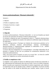licence professionnalisante pharmacie industrielle