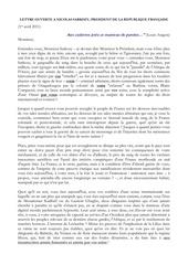 11 04 01 lettre ouverte au president sarkozy