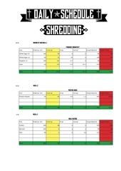 daily schedule 2015 shredding