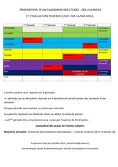 Fichier PDF calendrier