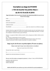 inscription au stage de kyusho 24 et 25 10 15