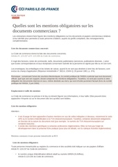 mentions obligatoires sur les documents commerciaux 2014