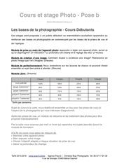 tarifs cours de photo pose b