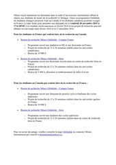 bourse de recherche mitacs globalink