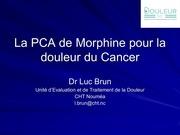 la pca de morphine cancer