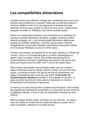 compatibilites alimentaires