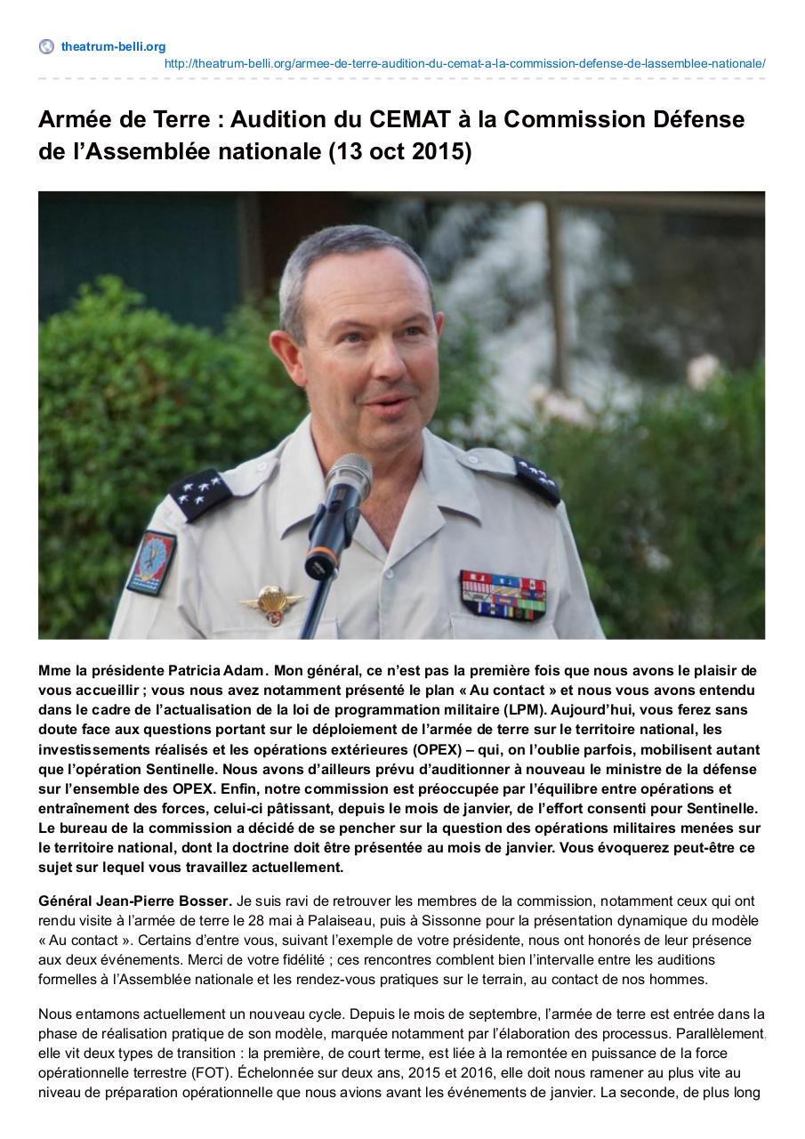 Aperçu du document theatrum-belli.org-Armée de Terre  Audition du CEMAT à la Commission Défense de lAssemblée nationale 13 oct 2015.pdf - page 1/13