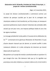 declaration m benflis revision constitutionnelle 02112015docx