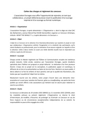 cahier des charges et reglement du concours