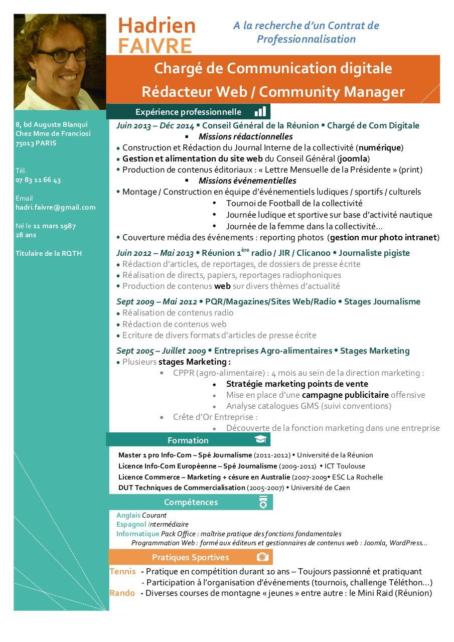 modele cv rqth CV Hadrien Faivre 2015 10 20   Fichier PDF modele cv rqth