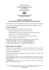 appel a candidatures licence marketing publicite 2015