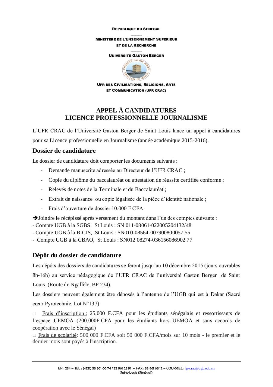 Aperçu du document UFR CRAC Appel à candidatures Licence Journalisme 2015.pdf - page 1/1