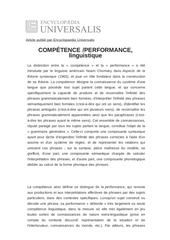 definition de competence performance linguistique 3