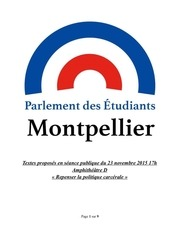 textes parlement des etudiants de montpellier